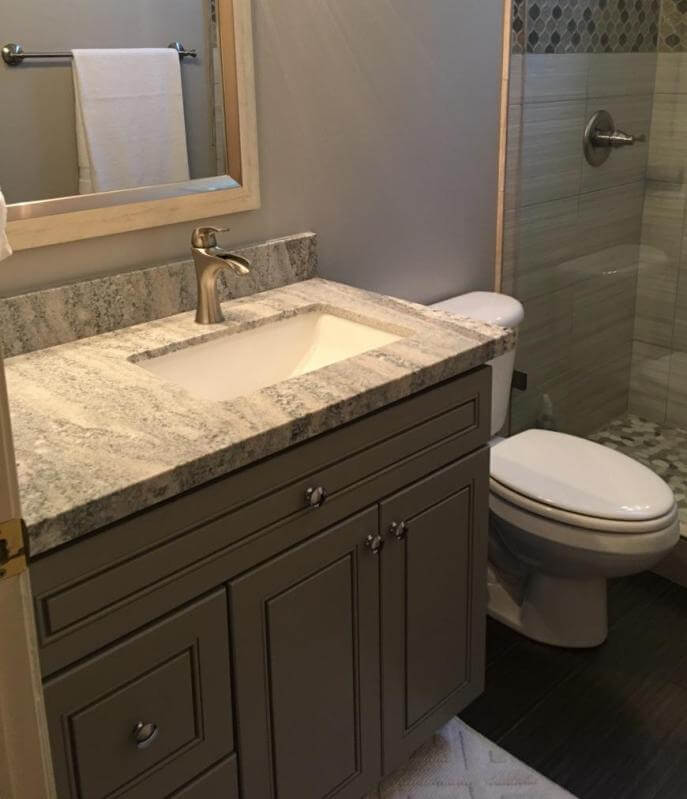 J&K Greige Hall Bath Vanity Porcelain Sink Granite  Countertops Scottsdale