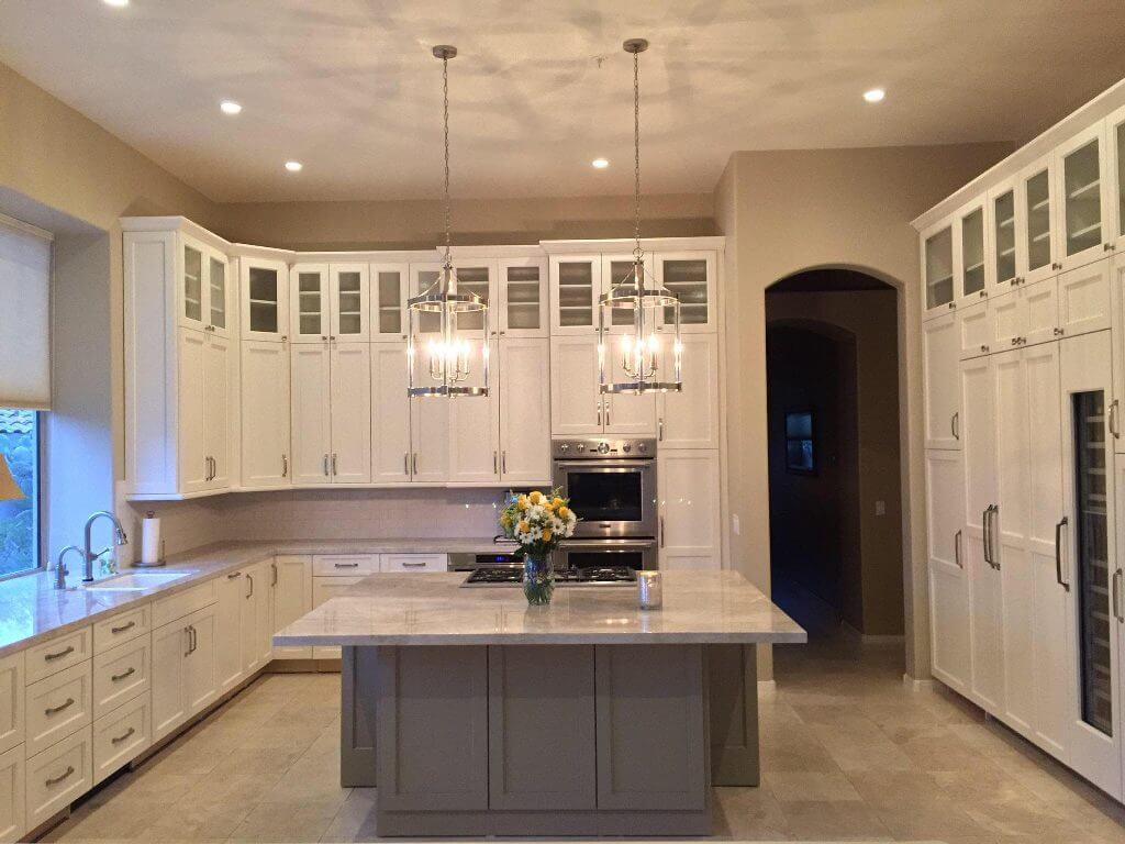 Greenfield White and Grey Shaker  Kitchen Cabinets Island Granite Countertops Scottsdale Cabinet & Stone