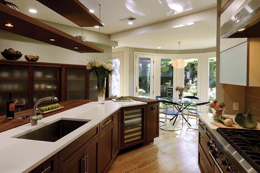 Augusta A Walnut Brownstone w Accent Cameo Paint Greenfield Cabinetry