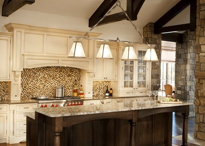 This kitchen remodel features Brown and Crème Colored cabinets. The contrast of the light and dark with the stone wall really gives this kitchen a ... & Scottsdale AZ Top Rated Kitchen Cabinets Remodeling Showroom